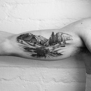 Nice landscape tattoo #landscapetattoo #landscape #blackwork #linework #GeorgieHarrison