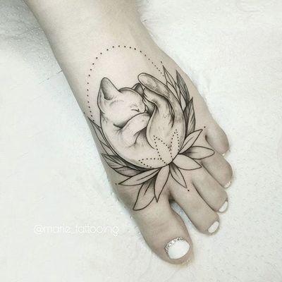 Cat by Masha #Masha #minimalistic #blackwork #cat #flower #tattoooftheday