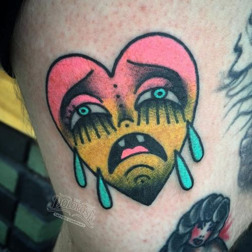 Neon crying heart tattoo #ChristinaHock #heart #cryingheart #traditional #neon