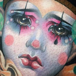 Dont cry sad clown by Kat Abdy #KatAbdy #color #realism #realistic #neotraditional #clown #pierrot #sadclown #cute #portrait #face #makeup #circus #tattoooftheday