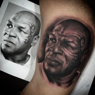 Rad looking portrait tattoo of IRON Mike Tyson! Tattoo by Juande Gambin. #juandegambin #portraittattoos #ironmike #tyson #miketyson