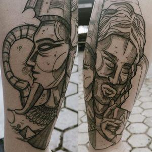 Belíssimo trabalho #TamiresMandacaru #TatuadorasDoBrasil #brazilianartist #brasil #brazil #sketchstyle #estilorascunho #fineline #jesus #faraó #egito #cristo #blackwork