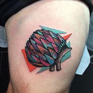 Hedgehog tattoo by Andrew Marsh. #AndrewMarsh #hedgehog #animal #trippy