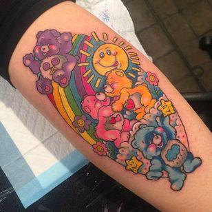 Colorful Carebears Tattoo by Sarah K @SarahKTattoo #SarahKTattoo #SouthAustralia #Neotraditional #Colorful #Pop #bright_and_bold #Neotraditionaltattoo #Carebears