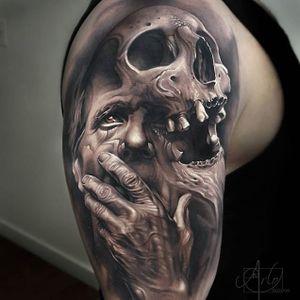 A morbid fusion of a skull and a man's face by Arlo DiCristina (IG—arlotattoos). #ArloDiCristina #color #oldman #portraiture #realism #skull #surreal