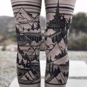 Leg landscapes by Castlebasas #Castlebasas #thievesoftower #linework #blackwork #dotwork #buildings #towers #castles #pagoda #architecture #ocean #mountains #sky #sea #trees #landscape #tattoooftheday