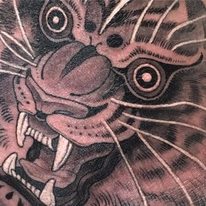 Eyes of the tiger by Noah J Moore #oldsouls #NoahJMoore #blackandgrey #Japanese #neotraditional #mashup #tiger #junglecat #cat #realistic #stripes #whiteink #tattoooftheday