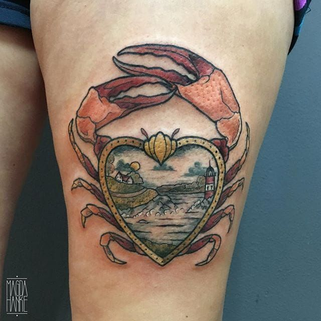 Crab Tattoo by Magda Hanke #crab #crabtattoo #neotraditional #neotraditionaltattoo #neotraditionaltattoos #neotraditionalartist #MagdaHanke