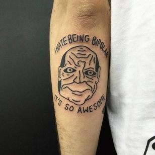 Bipolar Tattoo by Jack Watts @Tattoosforyourenemies #Tattoosforyourenemies #sangbleu #london #black #blackwork #traditional #Bipolar