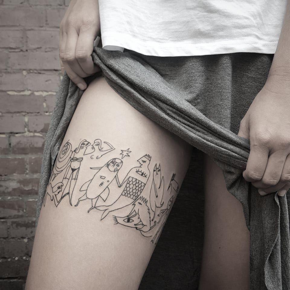 Contemporary tattoo by Bianka Szlachta #BiankaSzlachta #ignorantstyle #folk #naive #linework #minimalistic