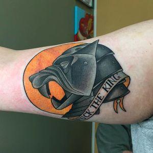 The Hound tattoo by Zac Walker. #gameofthrones #GOT #tvshow #hound #thehound