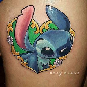 Stitch tattoo by Troy Slack. #TroySlack #liloandstitch #disney #ohana #hawaiian #stitchtattoo #stitch