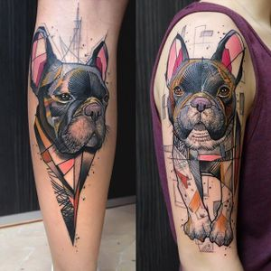 French Bulldog tattoo by Tobias Burchert. #TobiasBurchert #traditionalartstyle #softpastel #contemporary #sketch #frenchie #dog #bulldog #pet