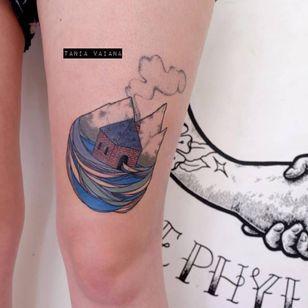 Pretty tattoo by Tania Vaiana #TaniaVaiana #illustrative #minimalistic #surrealistic #landscape