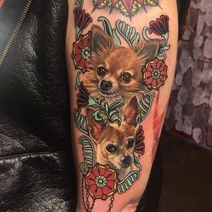 Tiniest cuties by Megan Massacre #MeganMassacre #realism #realistic #hyperrealism #petportrait #color #dog #Chihuahua #papillon #flowers #ornamental #leaves #jewelry #tattoooftheday