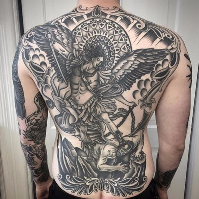 Angel crushes demon by Chris Empire #ChrisEmpire #blackwork #angel #demon #devil #clouds #wings #warrior #soldier #religious #blackandgrey #traditional #chains #stainedglass #sword #waves #pattern #sunrays #tattoooftheday