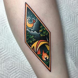 Sweet camping spot by Kevin Ray #KevinRay #camping #forest #fire #moon #clouds #landscape #stars #color #newtraditional #tattoooftheday