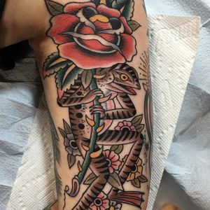 Traditional by Gregory Whitehead #GregoryWhitehead #traditional #frog #rose #tattoooftheday