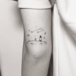 In space by Masa #Masa #fineline #minimalist #linework #small #simpe #galaxy #space #moon #girl #stars #shootingstar #planet #saturn #travel #flower #tattoooftheday