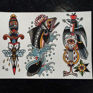 Traditional tattoo flash by Sam Ricketts, photo from Sam's Instagram. #flash #flashsheet #traditional #oldschool #dagger #bird #surreal