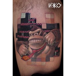 Donkey Kong Tattoo by Neko Bou #DonkeyKong #gorilla #monkey #Nintendo #Gaming #NekoBou