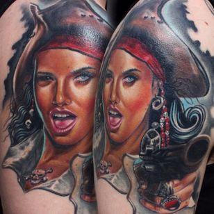 Awesome pirate lady tattoo by Martin Kukol. #MartinKukol #realistic #mARTink #pirate #girl #piratewoman
