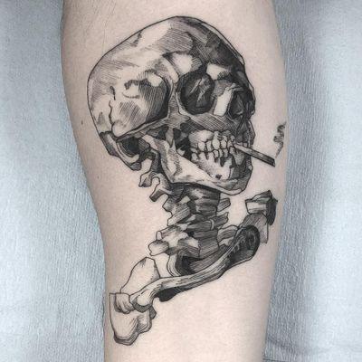Inspired by Van Gogh. Tattoo by Vanpira #Vanpira #Vanpriegonova #VanGoghtattoo #blackwork #linework #etching #engraving #illustrative #skull #death #smoking #VanGogh #cigarette