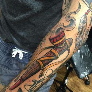 Peace Pipe Tattoo by @ma87tattoo #peacepipe #pipe #smoke #feathers #NativeAmericaTattoo #traditional
