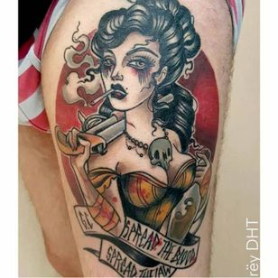 Pirate lady tattoo by Odrëy #Odrëy #illustrative #newschool #neotraditional #lady #pirate