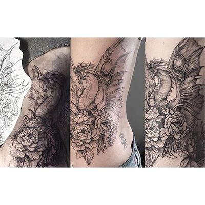 Dragon tattoo by Lesya Kovalchuk. #LesyaKovalchuk #blackwork #mythology #dragon #beast #creature #fantasy #tale #epic