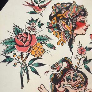Blooms, Babes, and Bones by Mike Suarez (via IG-suarezism) #flashfriday #artshare #flash #oldschool #humor #mikesuarez