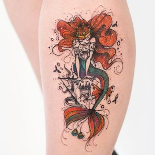 Princesa sereia #RobsonCarvalho #brazilianartist #brasil #brazil #tatuadoresdobrasil #ilustrtação #illustration #sketchstyle #estilorascunho #watercolor #aquarela #sereia #mermaid #castle #castelo #princesa #princess #peixe #fish #crown #coroa