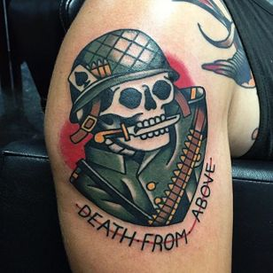 Military skeleton via @adamtruarn #adamtruarn #traditional #bold #traditionaltattoo