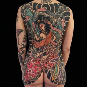 Japanese Back Tattoo by Andy Canino #japanese #traditional #boldwillhold #bigtraditional #oldschool #AndyCanino