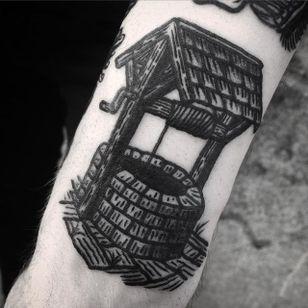 Well Tattoo by Jack Ankersen #Blackwork #TaditionalBlackwork #BlackTattoos #Illustrative #BoldBlackwork #JackAnkersen #btattooing #blckwrk #well