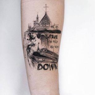 Graphic tattoo made at La Bottega dell'Arte #labottegadellarte #graphic #contemporary #angel #cemetery #coffin #church #lettering