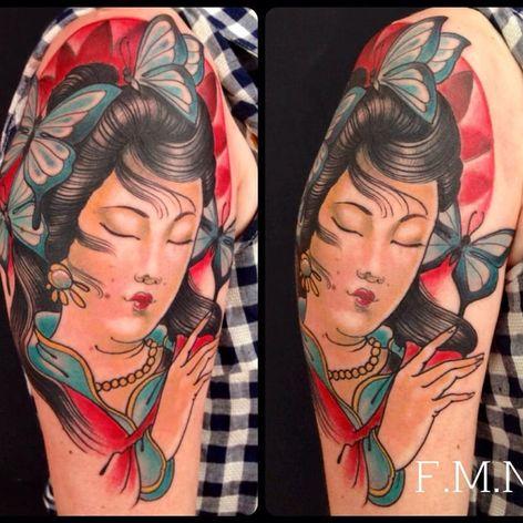 Linda #LolyTattoo #gueixa #gueixatattoo #japao #japan #tradição #cultura #mulher #woman #oriental #borboleta #butterfly
