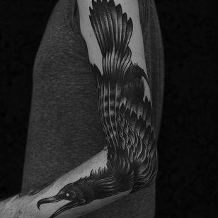 Crow by Happypets (via IG-happypetsink) #blackink #illustrative #traditional #macabre #sinister #dark #happypetsink
