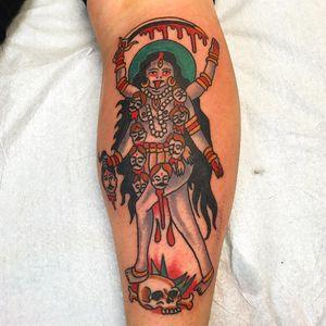 Tattoo by Robert Ryan #RobertRyan #color #traditional #Hindu #surreal #GoddessKali #Kali #deity #skull #blood #sword #thirdeye