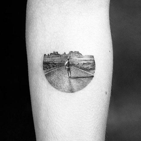 Staring down the road, by Amanda Piejak. (via IG—amanda_piejak) #TattooRoundUp #Tiny #Landscapes #GrandCanyon