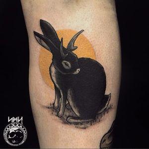 Jackalope tattoo by Scott M. Harrison #ScottMHarrison #neotraditional #nature #jackalope #rabbit