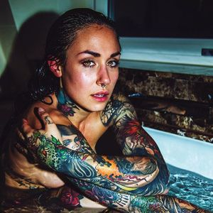 Michelle Maron in the bath. (Photo by Haris Nukem, featuring IG—michellemaron) #MichelleMaron #HarisNukem #Photography #TattooedBabes #ArtShare