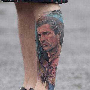 Braveheart Tattoo, artist unknown #Braveheart #BraveheartTattoo #MelGibson as #WilliamWallace #Portrait #MoviePortraits