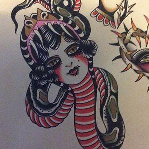 Snake Charmer by Shaun Bailey (via IG-bailey_tattooer) #flashfriday #flashart #fineart #flash #carnival #shaunbailey