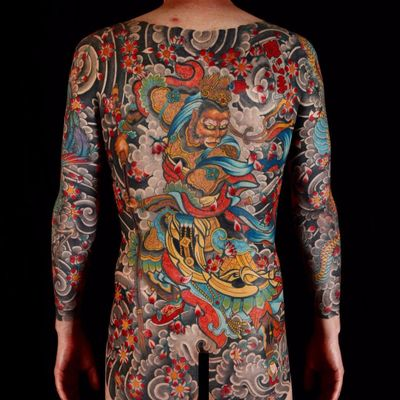 Monkey King by Stewart Robson #StewartRobson #Japanese #color #monkeyking #monkey #myth #folklore #cherryblossoms #warrior #smoke #phoenix #crown #king #snake #bodysuit #clouds #tattoooftheday