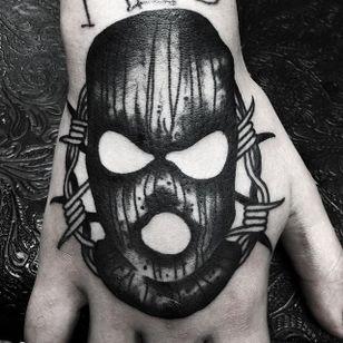Balaclava Tattoo by Jeremy Boleyn #blackwork #blackink #darkart #balaclava #blackworkbalaclava #JeremyBoleyn