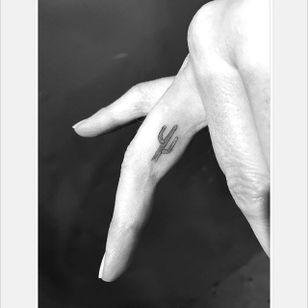 Mini cactus tattoo by Daniel Winter. #singleneedle #fineline #linework #DanielWinter #cactus