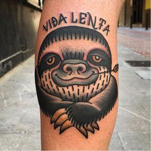 Sloth tattoo by Paz Buñuel #PazBuñuel #traditional #sloth #slothtattoo