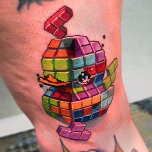 Tetris rubber ducky tattoo by Steven Compton. #newschool #rubberduck #StevenCompton #rubberducky #tetris