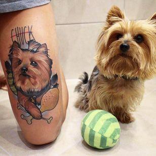 Dog tattoo by Julia Szewczykowska #JuliaSzewczykowska #dog #neotraditional